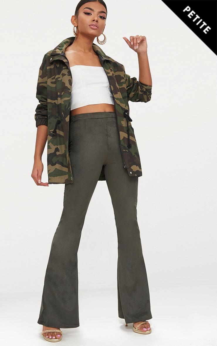 Petite Khaki Suedette Flared Trousers 1