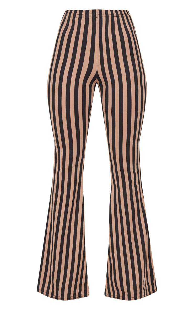 Taupe Humbug Stripe Flared Trousers 3