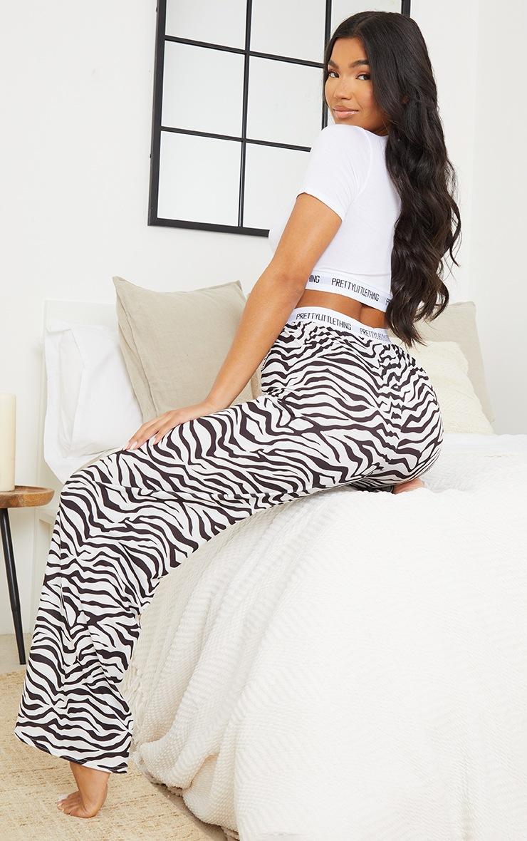 PRETTYLITTLETHING White Zebra Print Trouser PJ Set 2