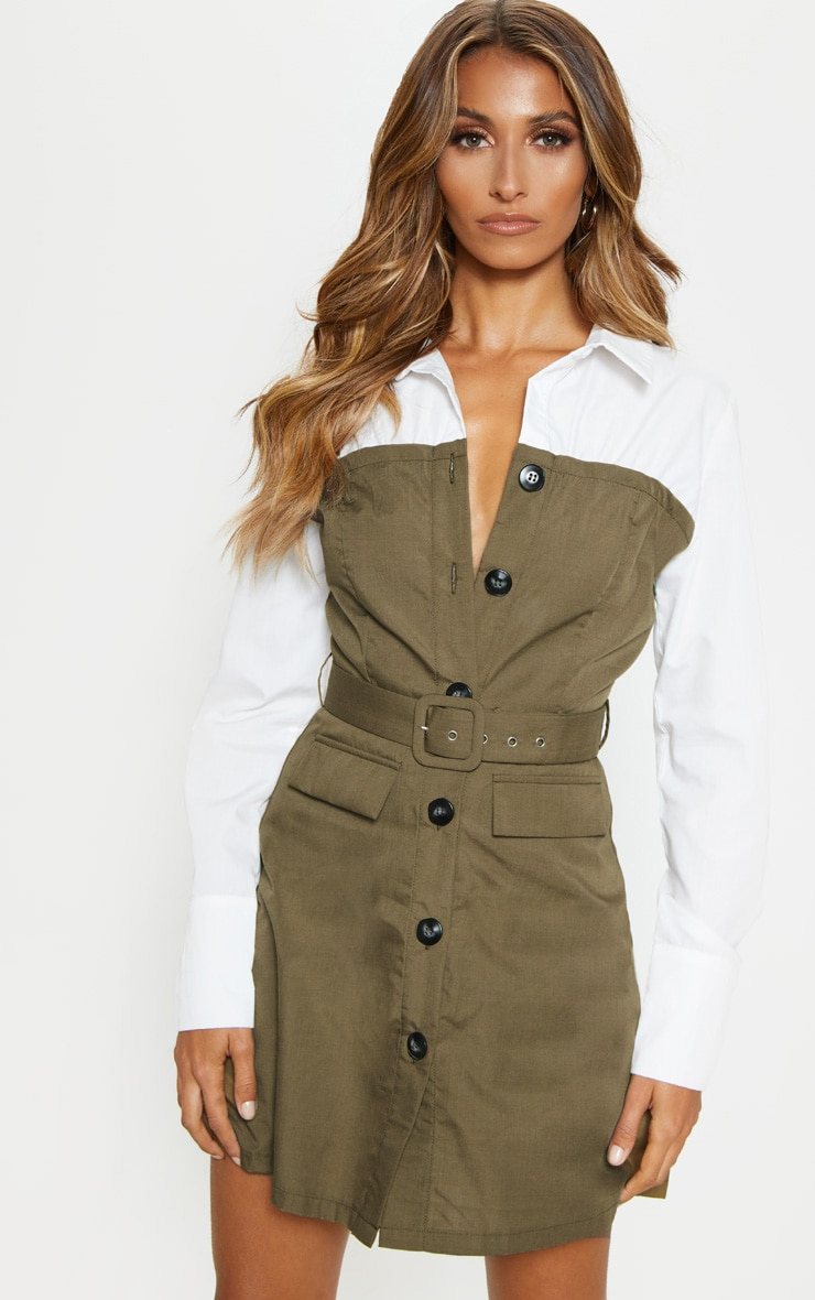 Khaki Bandeau Contrast Buttons Belted Shirt Dress 1