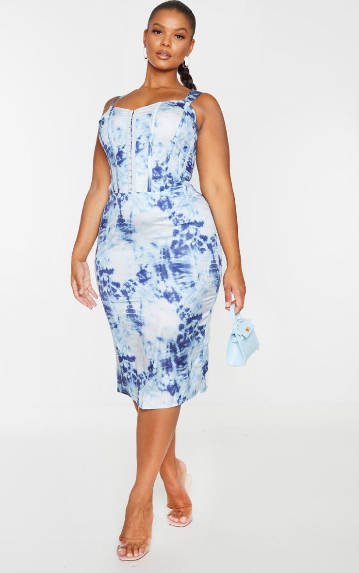 Plus Blue Tie Dye Corset Detail Midi Dress 3
