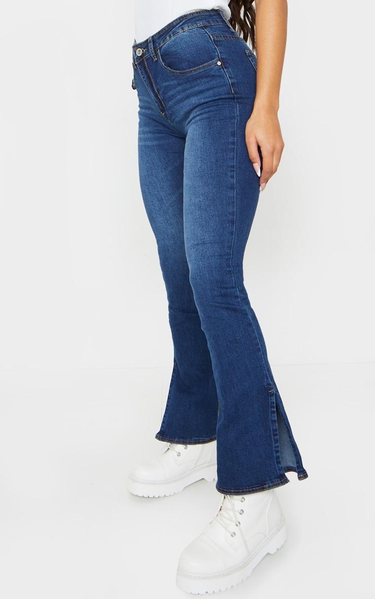 Indigo Side Split Hem Flared Jeans 2