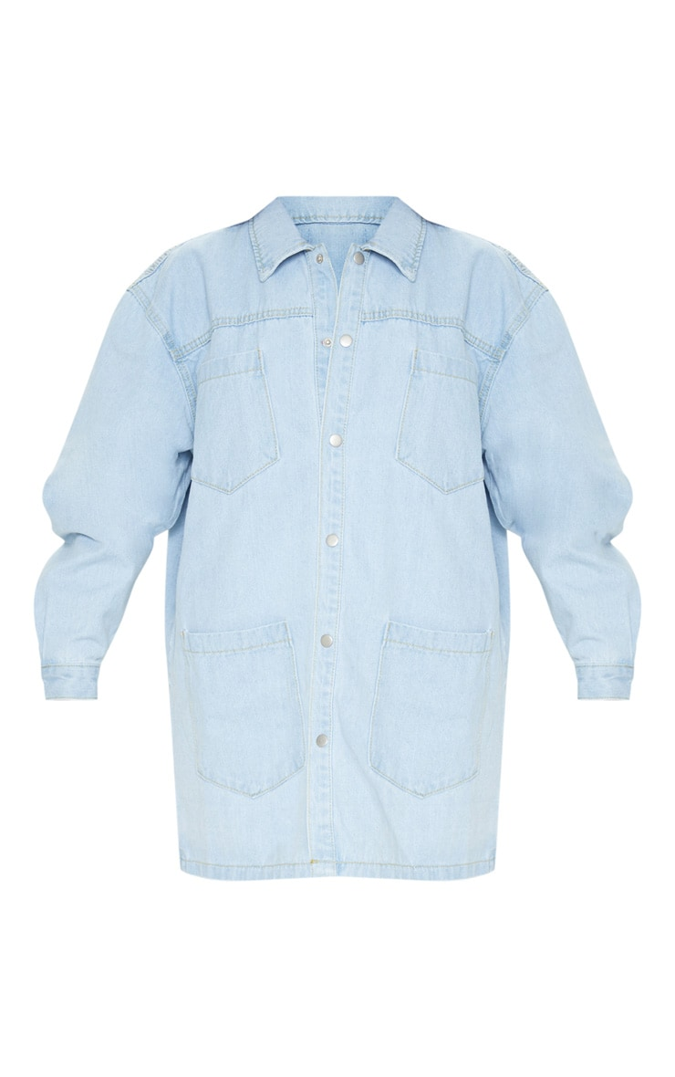 Chemise oversize en jean bleu très délavé 3