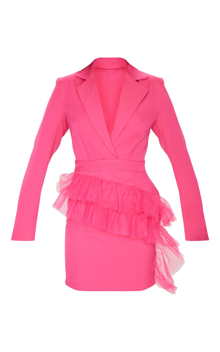 Hot Pink Long Sleeve Mesh Frill Blazer Style Bodycon Dress 5