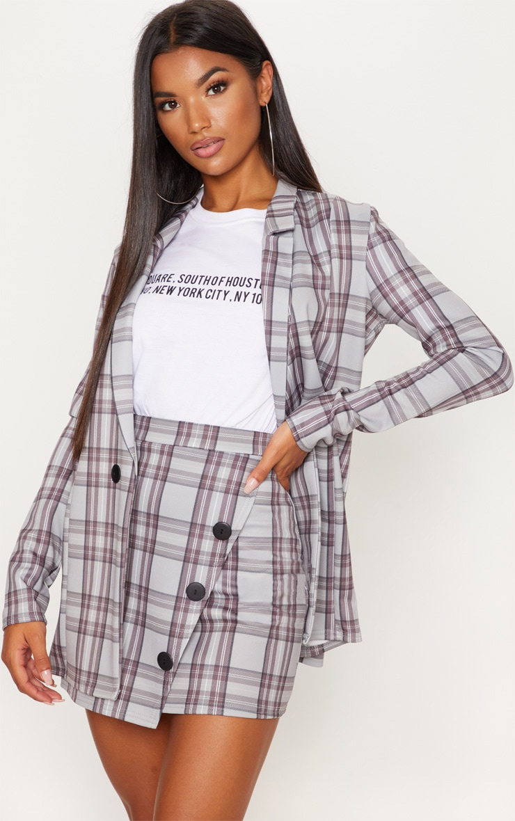 Grey Checked Button Skirt 4