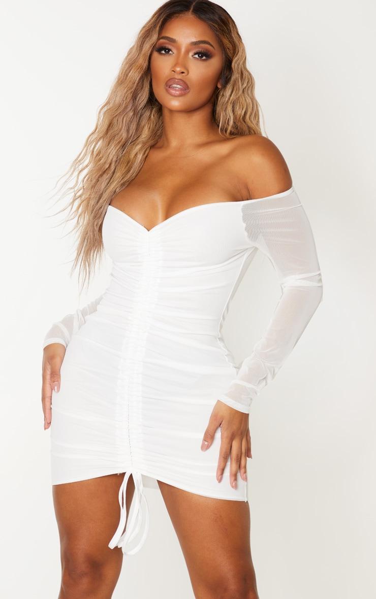 Shape - Robe moulante en mesh froncée blanc éclatant 1