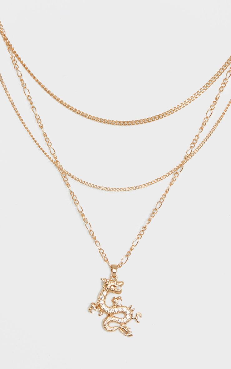 Gold Triple Layering Diamante Dragon Necklace 3
