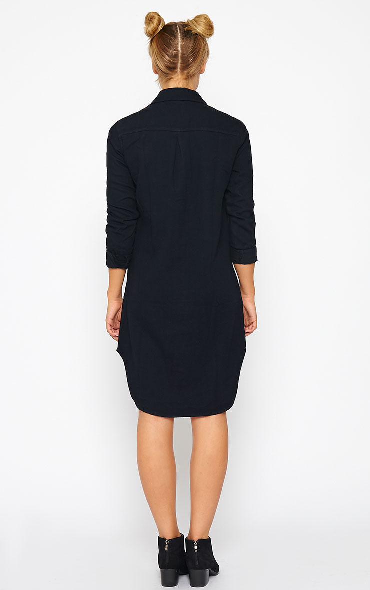Sachi Black Denim Shirt Dress 2