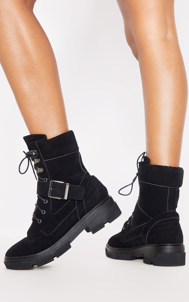 Black Lace Up Buckle Strap Ankle Boot 2