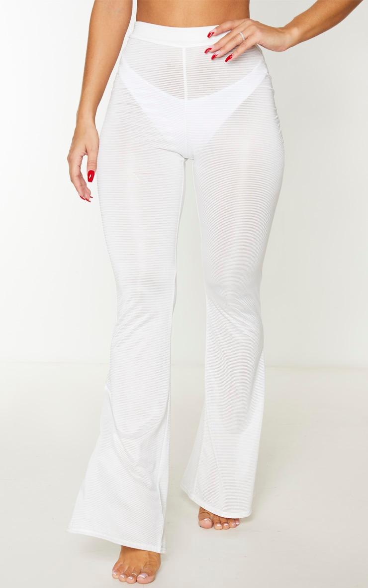 White Sheer Stripe Flared Beach Pants 3