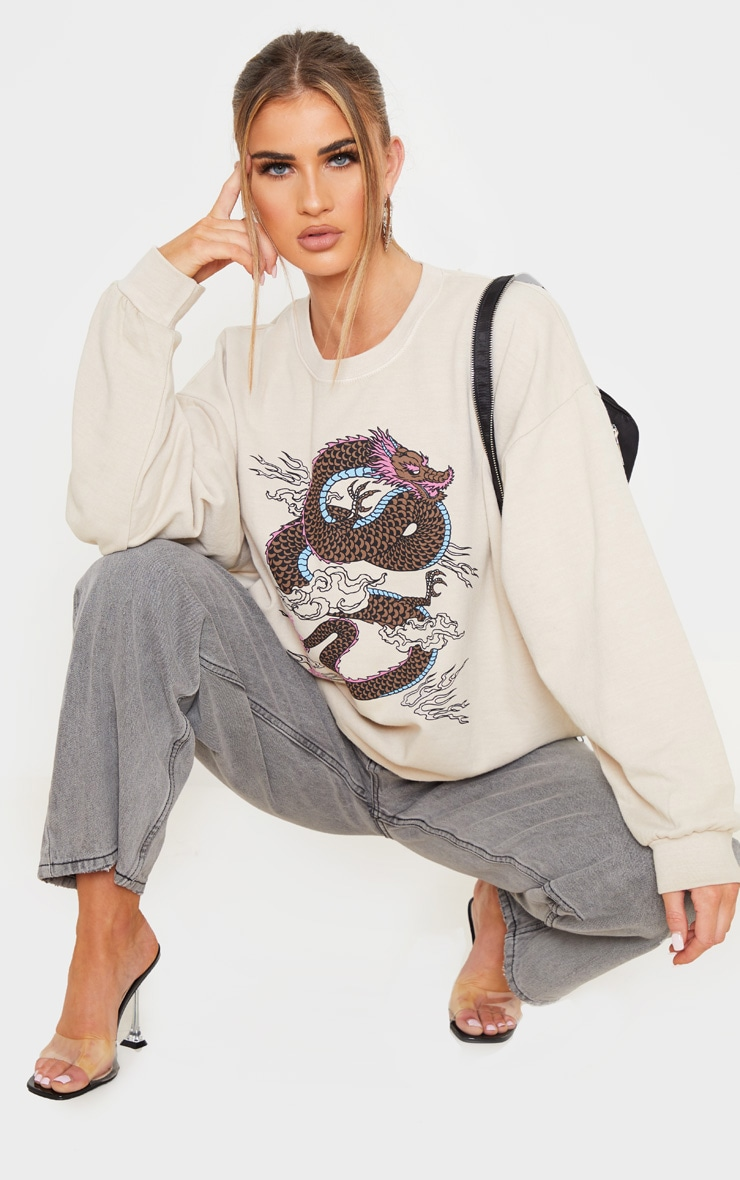 Sand Dragon Print Washed Long Sleeve Sweater 4