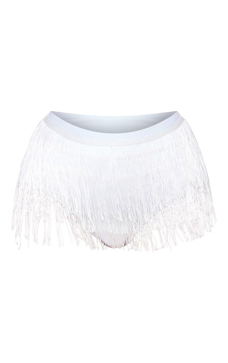 White High Waist Fringe Bikini Bottom 3
