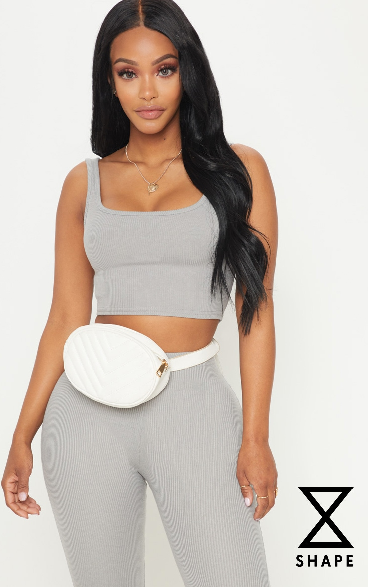 Shape Charcoal Ribbed Scoop Neck Crop Top