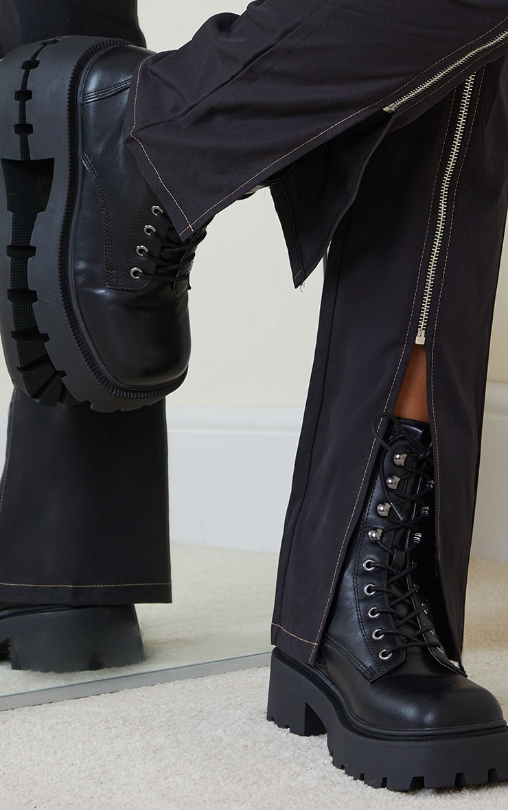 Black Chunky Lace Up Hiker Biker Boots 2