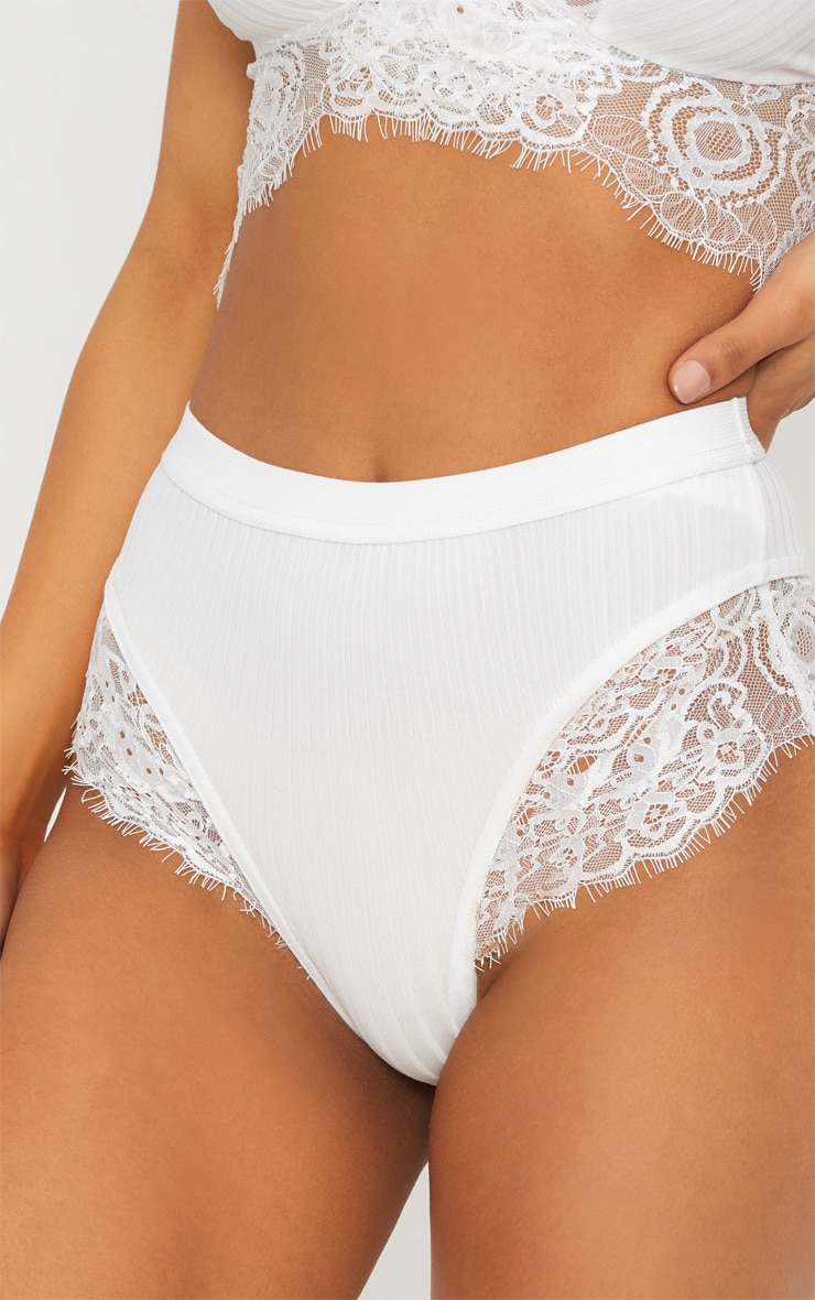 White Ribbed & Lace Mix Knickers 6