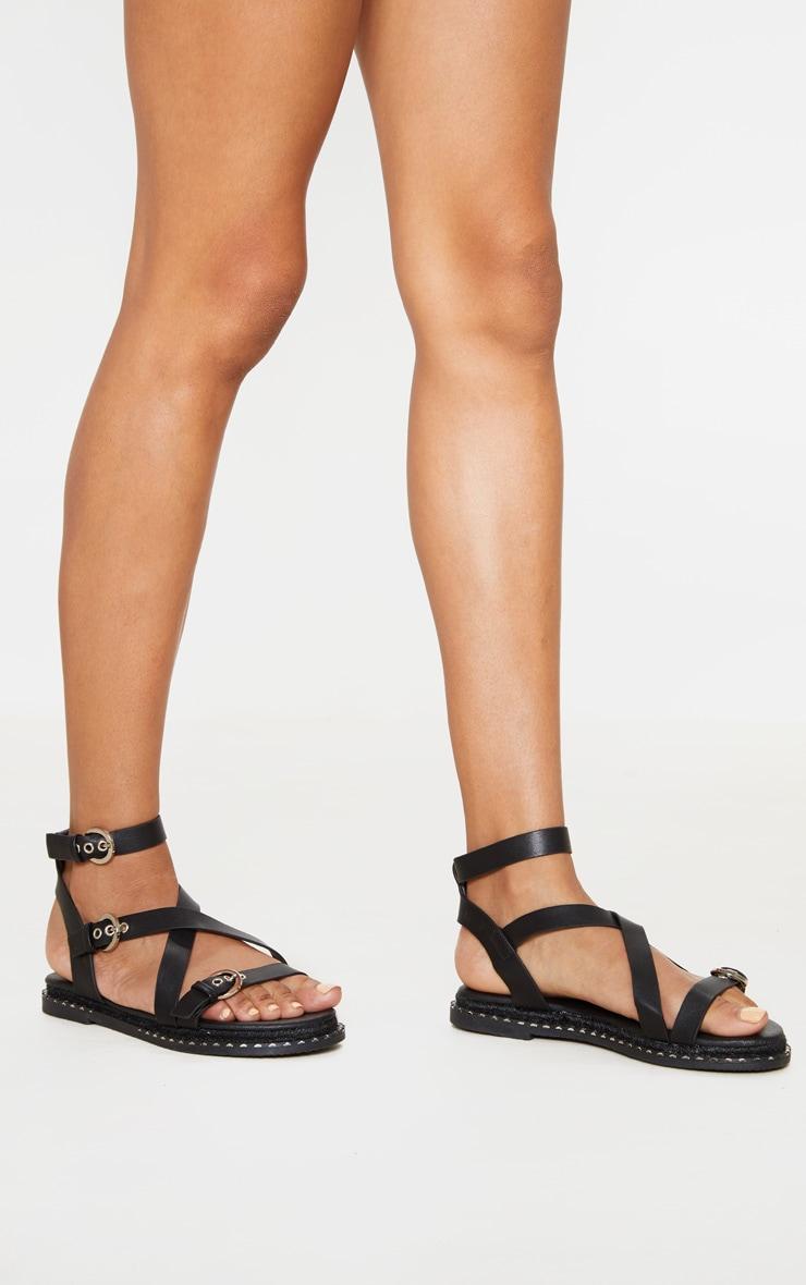 Black Chunky Sole Strappy Sandal 1