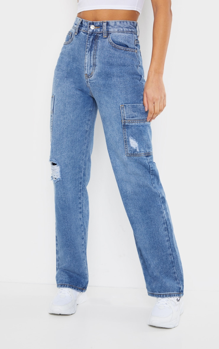 Mid Blue Wash Wide Leg Distressed Cargo Jeans 2