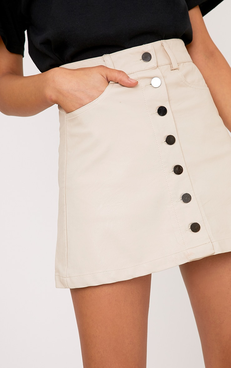 Ayanna Nude Faux Leather Button A-Line Mini Skirt 6