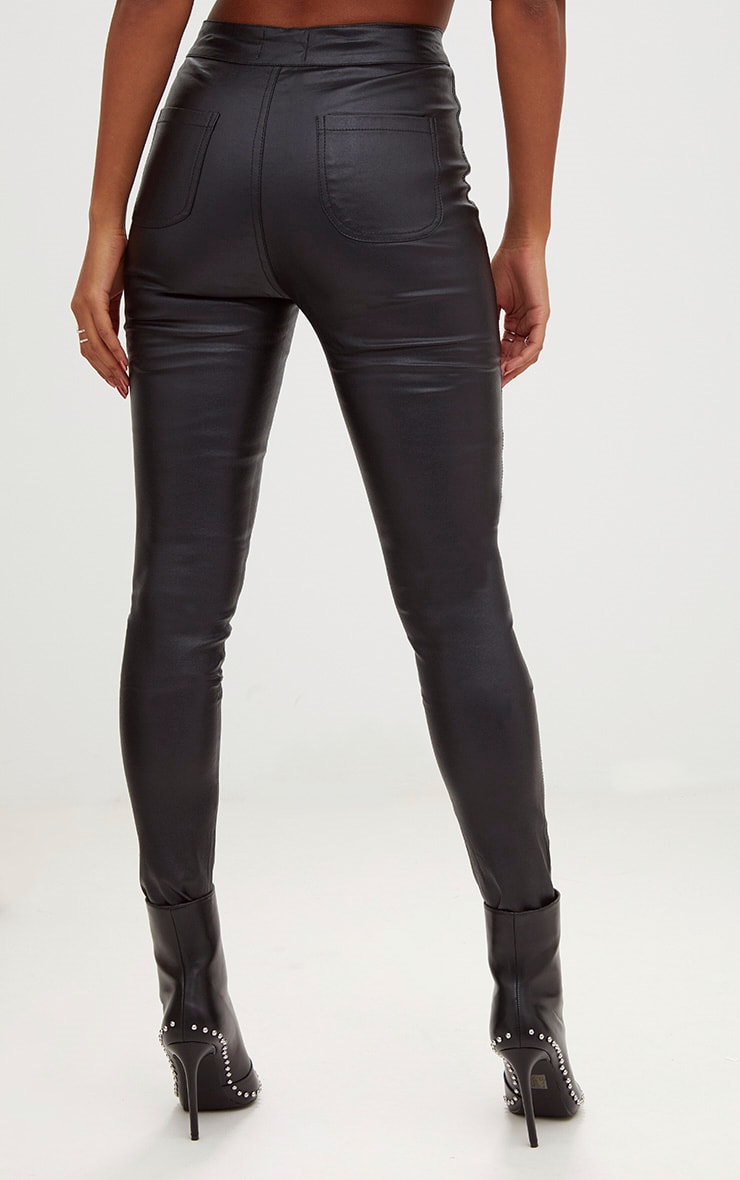 Black High Waisted Coated Skinny Jean 4
