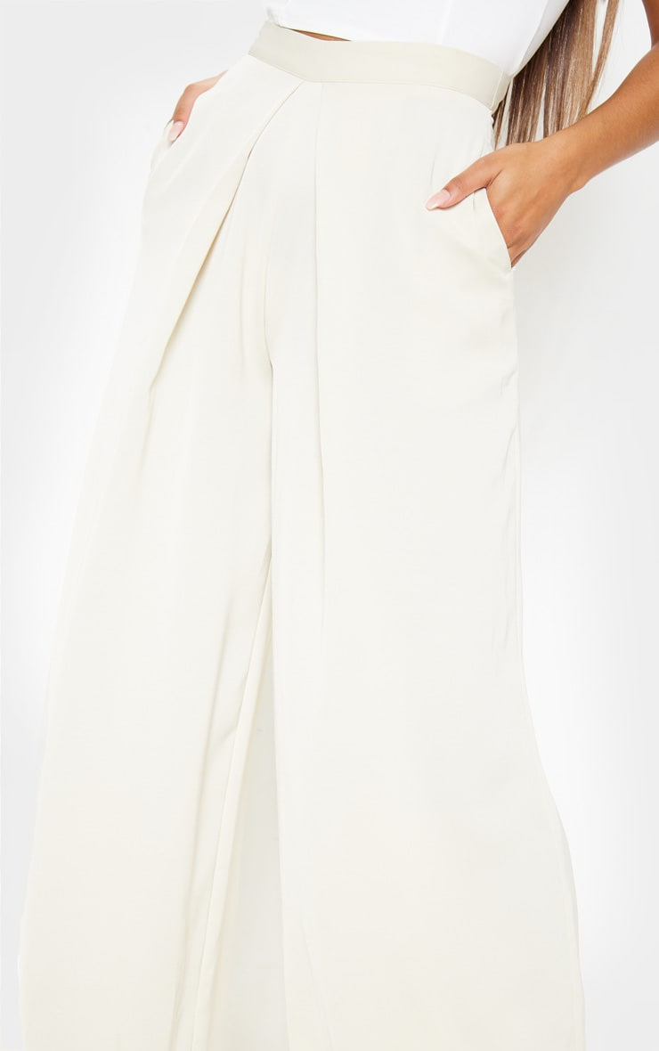 Cream Woven Pleat Detail Wide Leg Pants 5