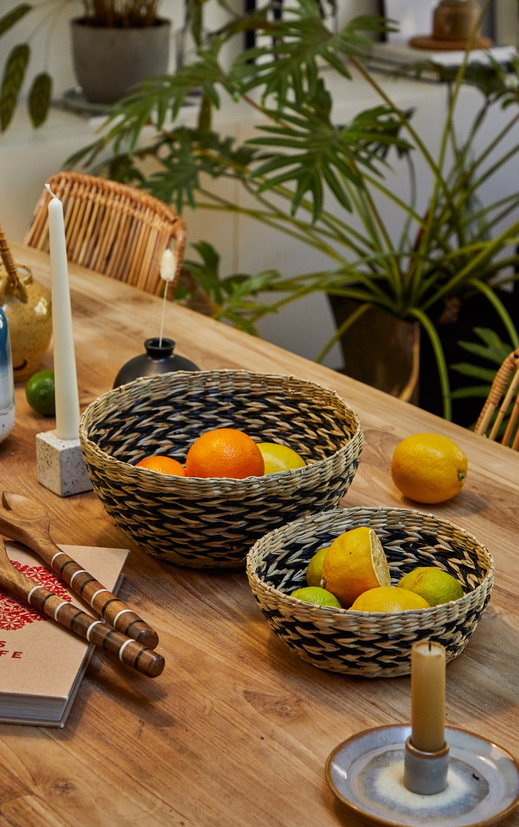 Black Chevron Seagrass Bowls Set Of 2 image 3