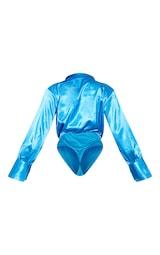 Aqua Blue Satin Cowl Neck Long Sleeve Bodysuit 6