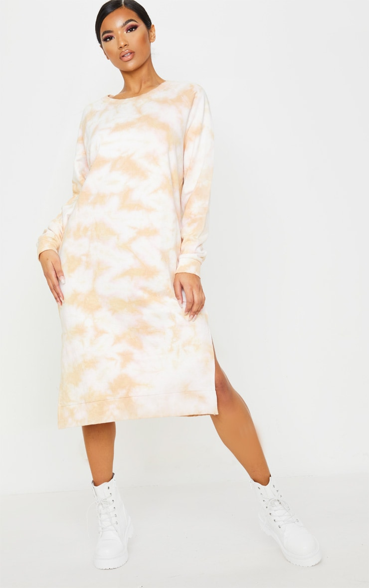 Blush Tie Dye Oversized Long Sleeve Sweat Midi Dress  4