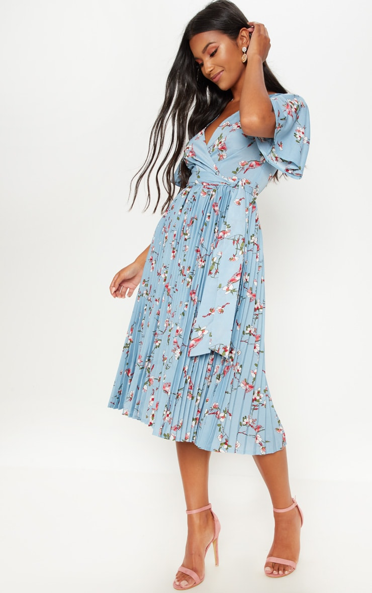 Dusty Blue Floral Pleated Midi Dress 1