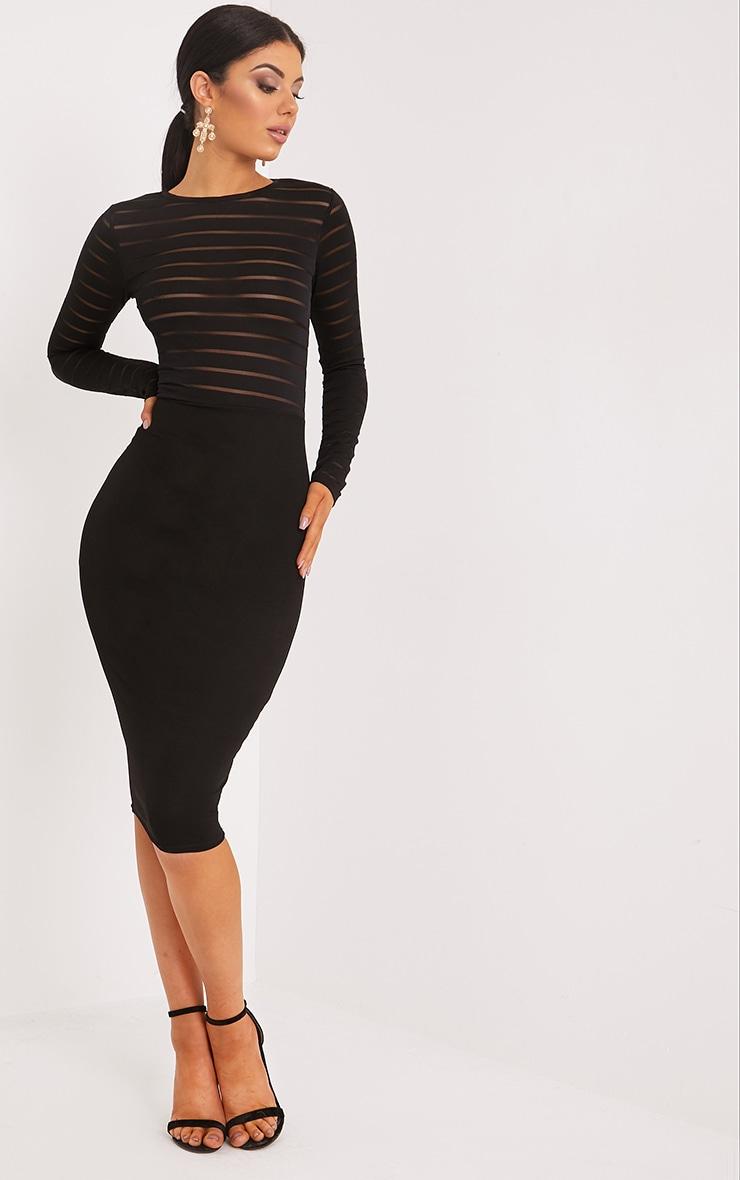 Haley Black Burn Out Mesh Midi Dress 1