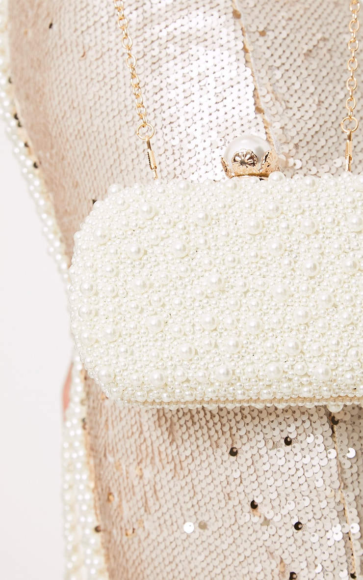 Cream Pearl Box Clutch 5