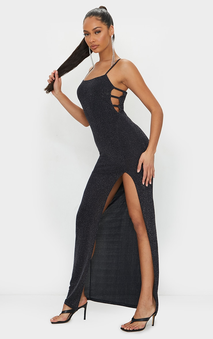 Black Textured Glitter Split Maxi Dress 3