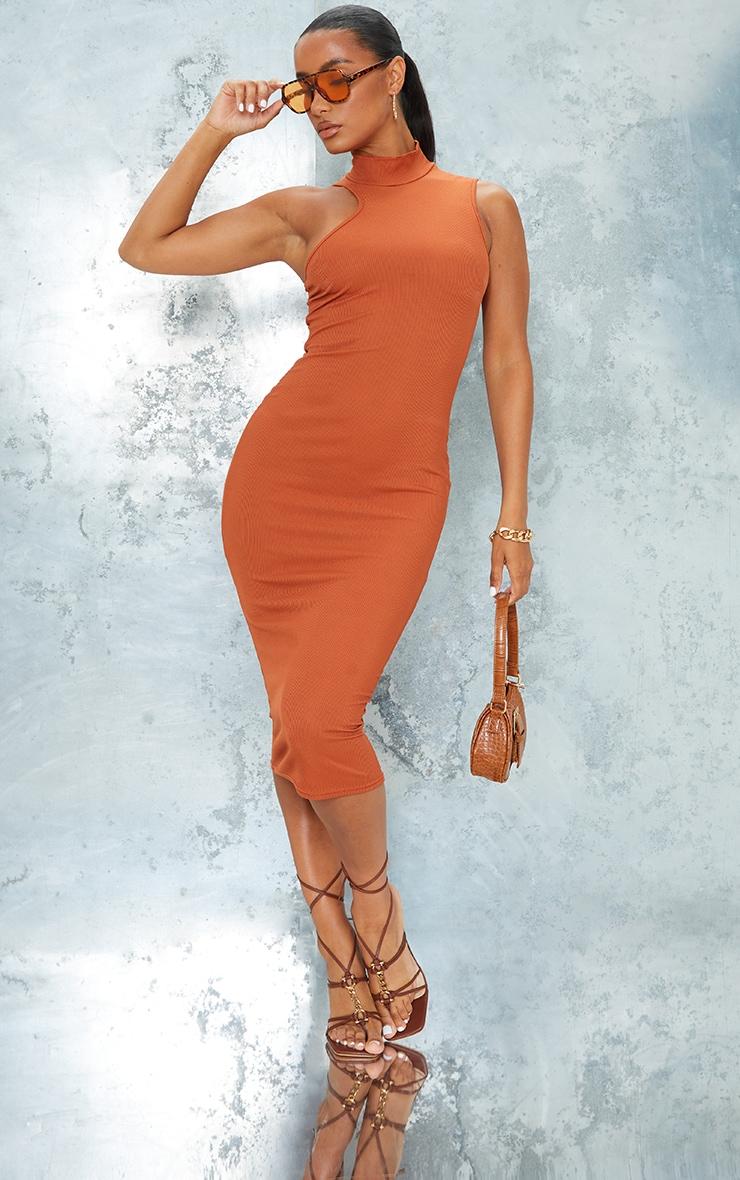 Rust Ribbed High Asymmetric Neck Sleeveless Midi Dress 1