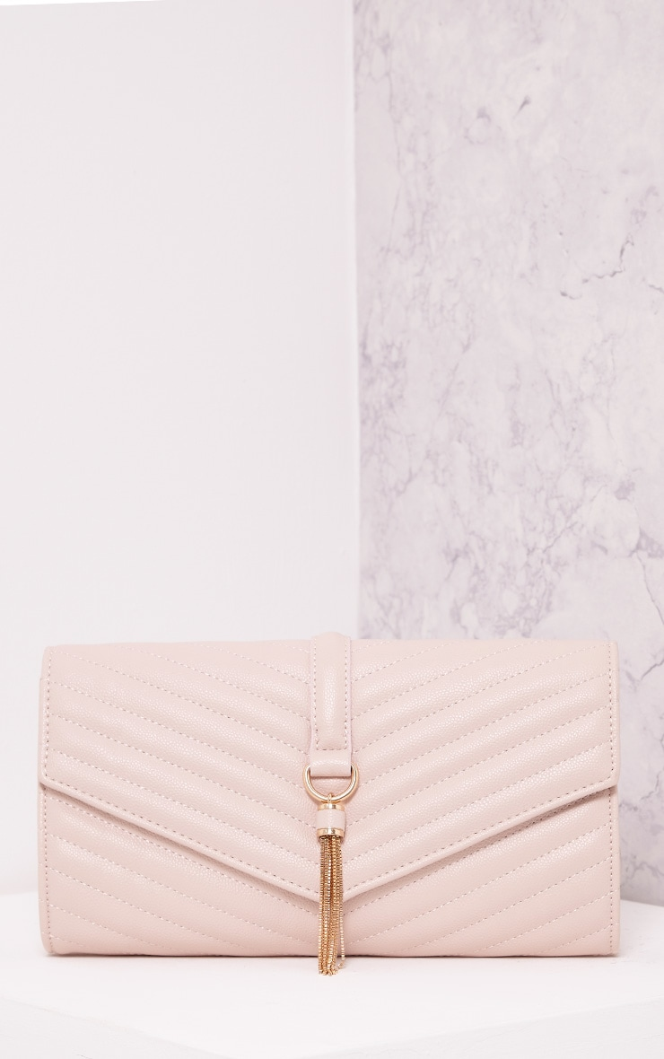 Vandra Nude Chain Tassel Detail Clutch Bag 1