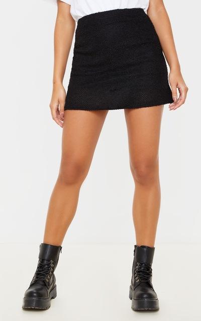 Black Boucle A Line Mini Skirt