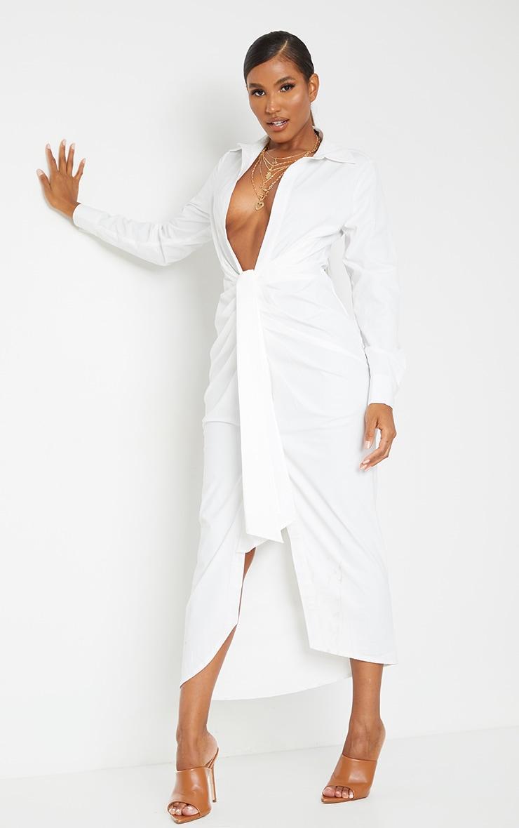 White Long Sleeve Plunge Drape Detail Midi Shirt Dress 1
