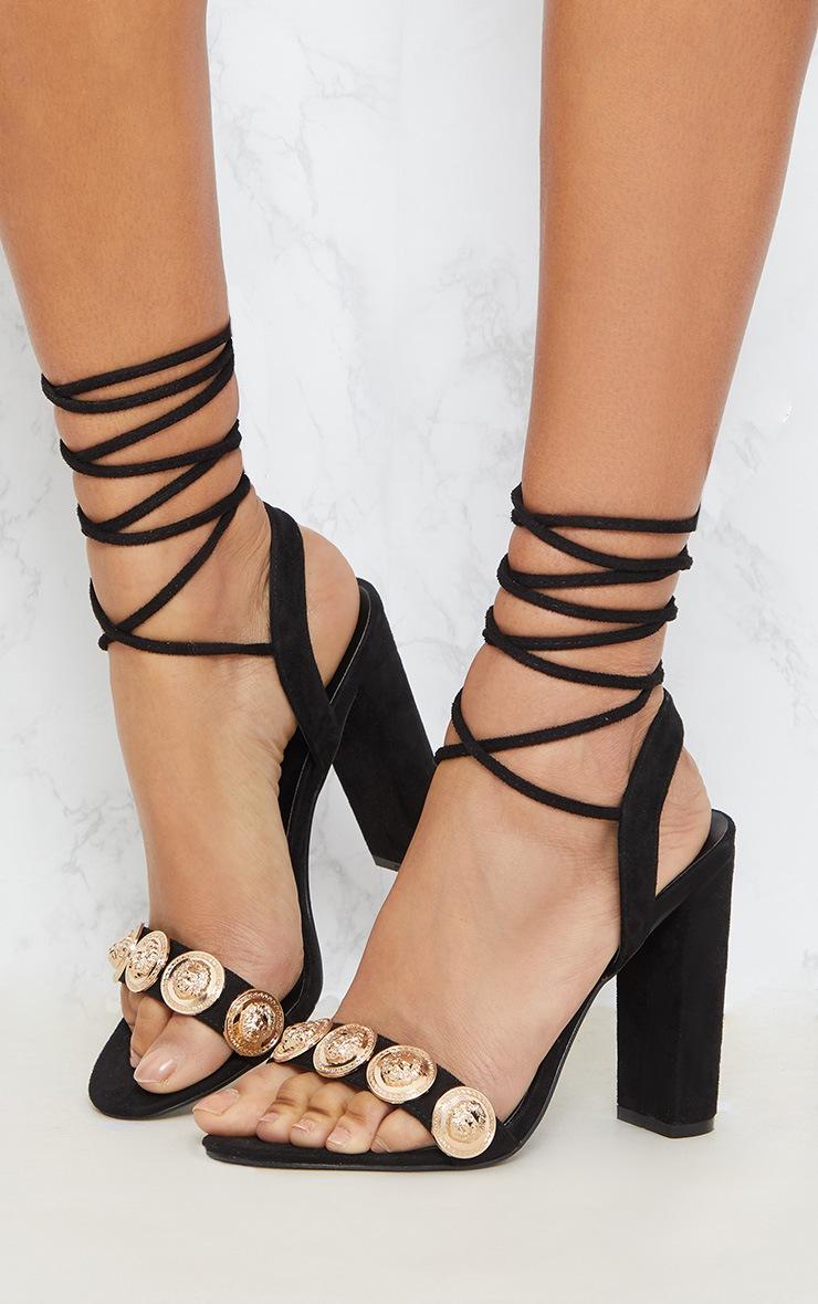 Black Coin Studded Leg Tie Block Heel Sandal 2