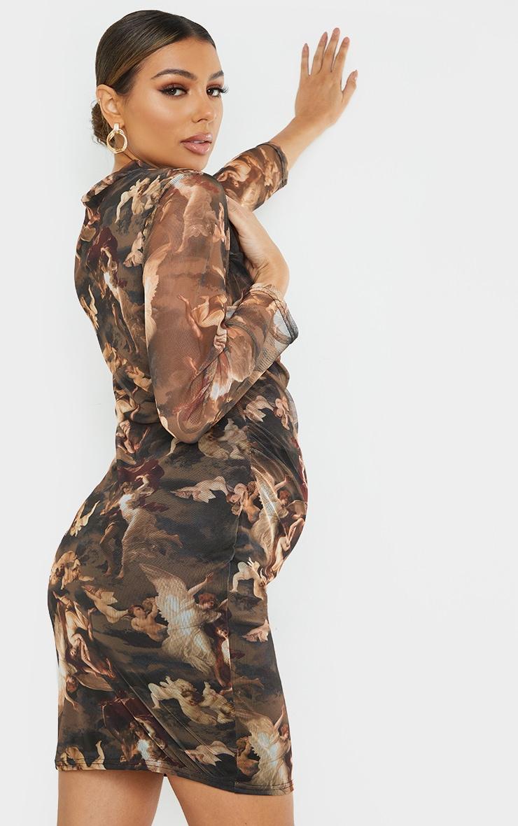 Maternity Brown Printed Ruched Mesh Mini Dress 2