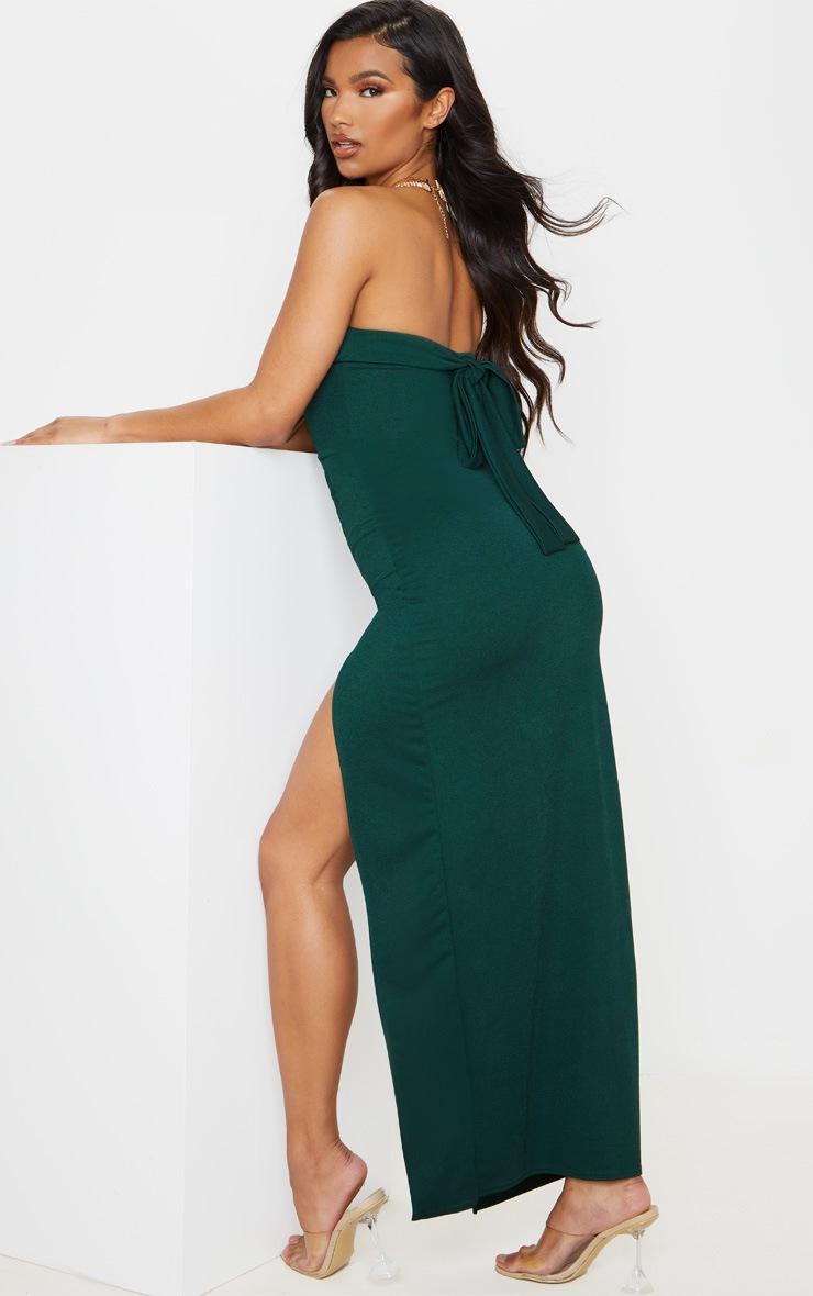 Emerald Green Bandeau Tie Back Maxi Dress 2