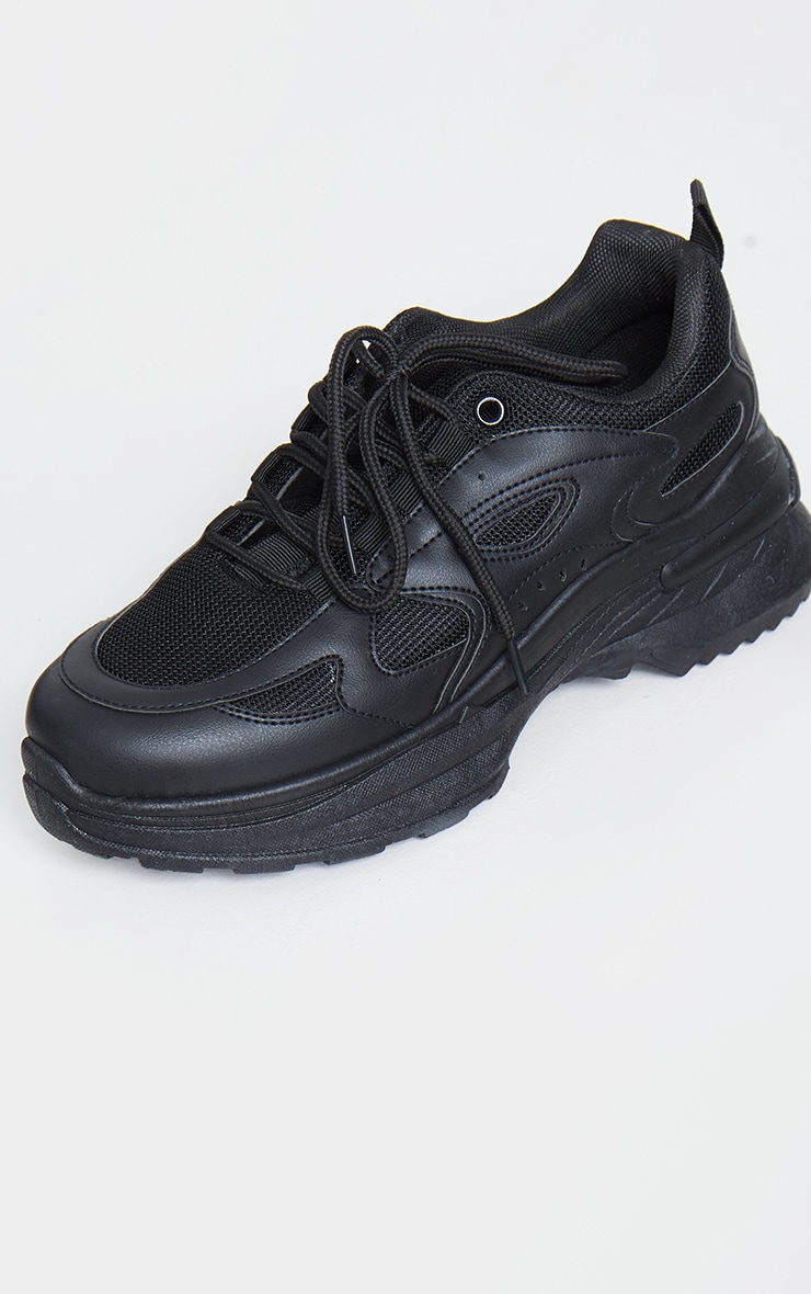Black Contrast Mesh Trainers 4