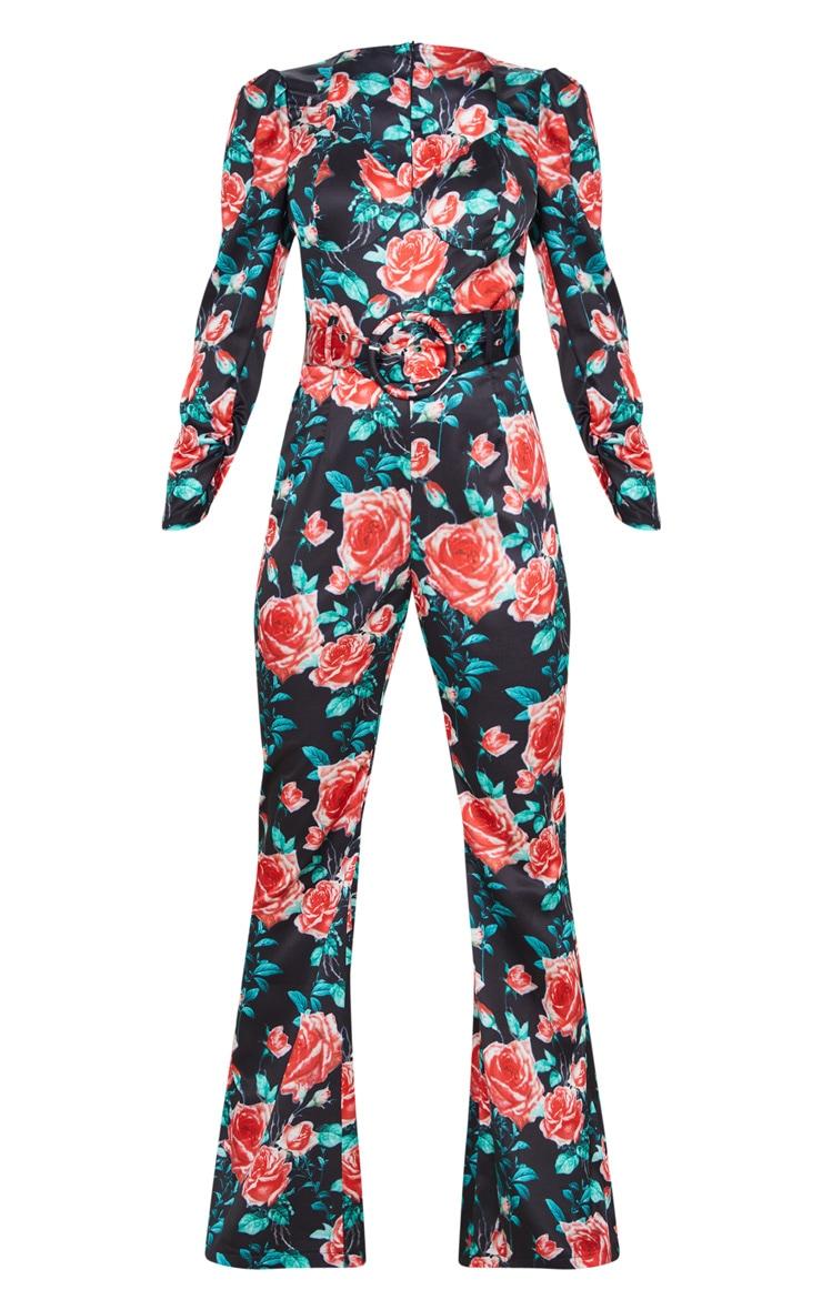 Petite - Combinaison jambes évasées satinée à imprimé floral noir 3