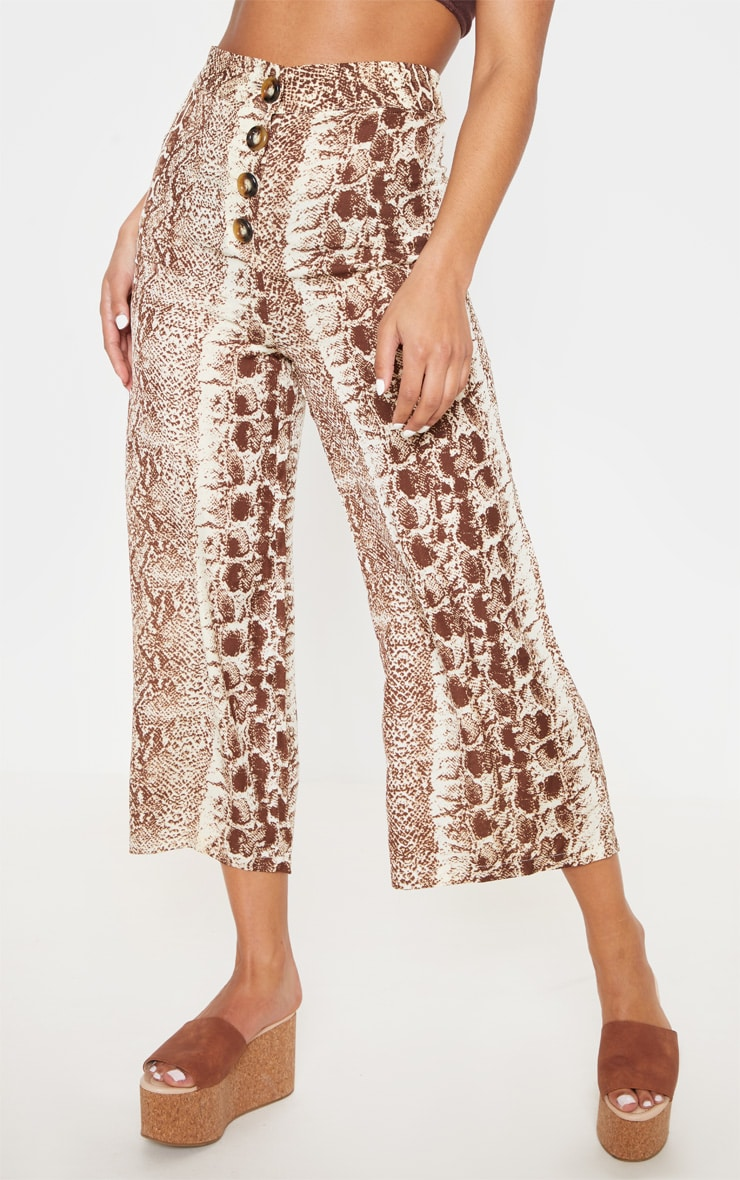 Brown Button Front Snake Print Culotte 2