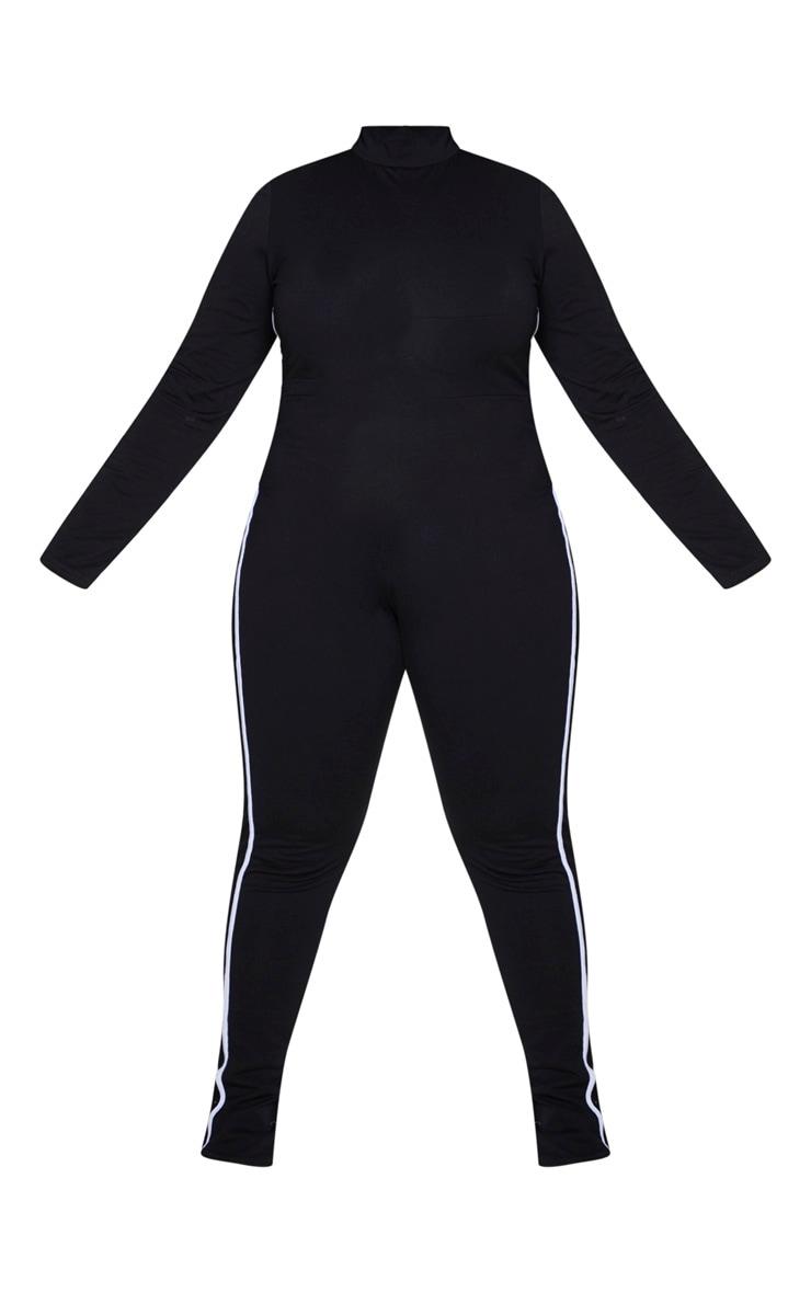 Plus Black Sports Stripe High Neck Jumpsuit 5