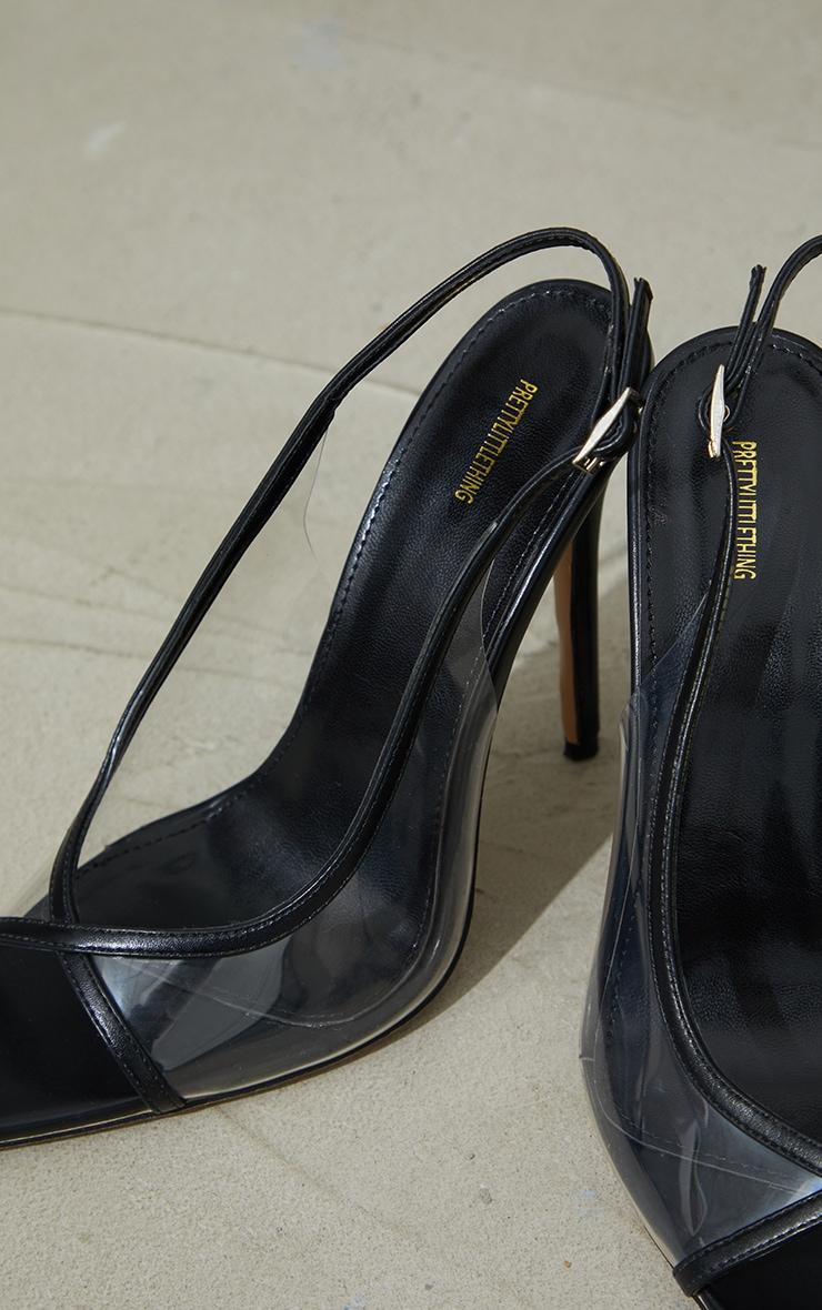 Black Pu Clear Sling Back High Heel Courts 4