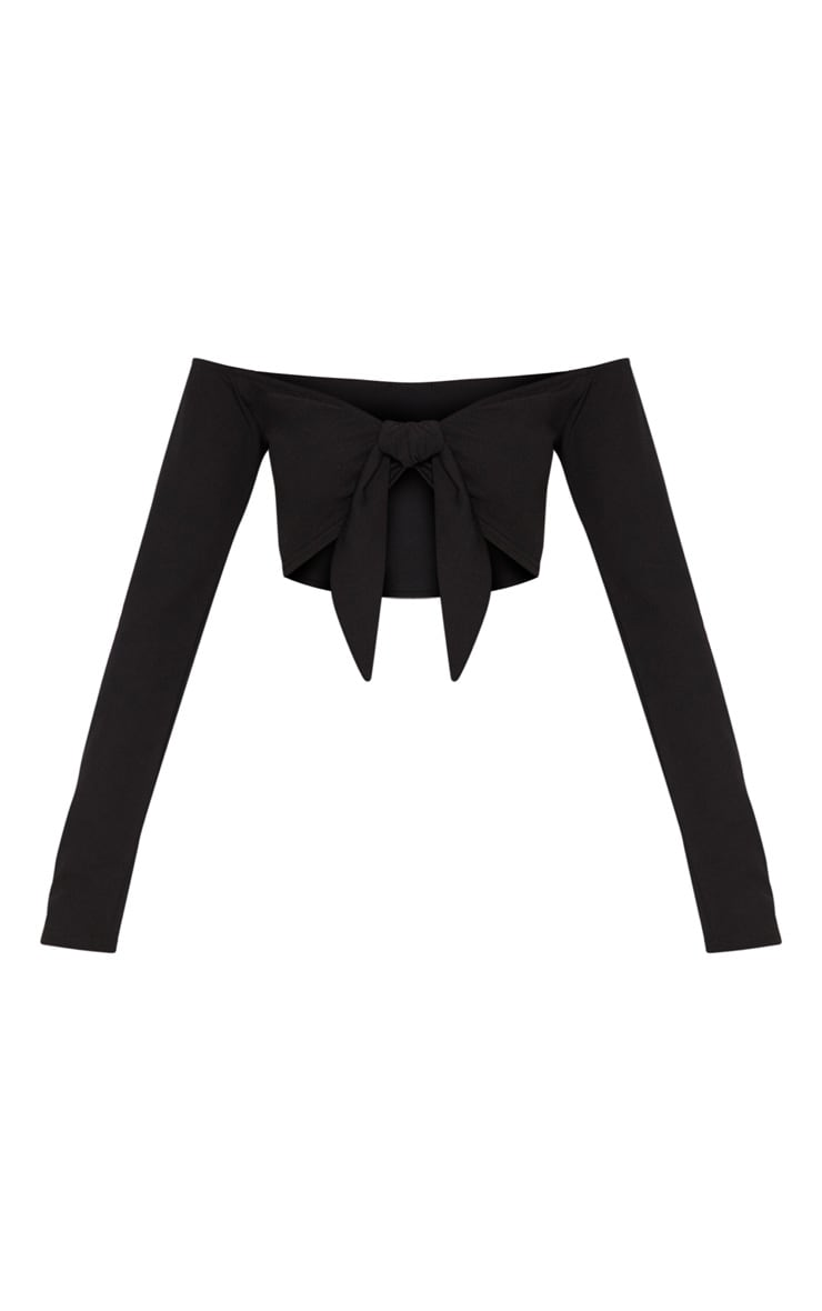 Black Bardot Tie Front Crop Top 3