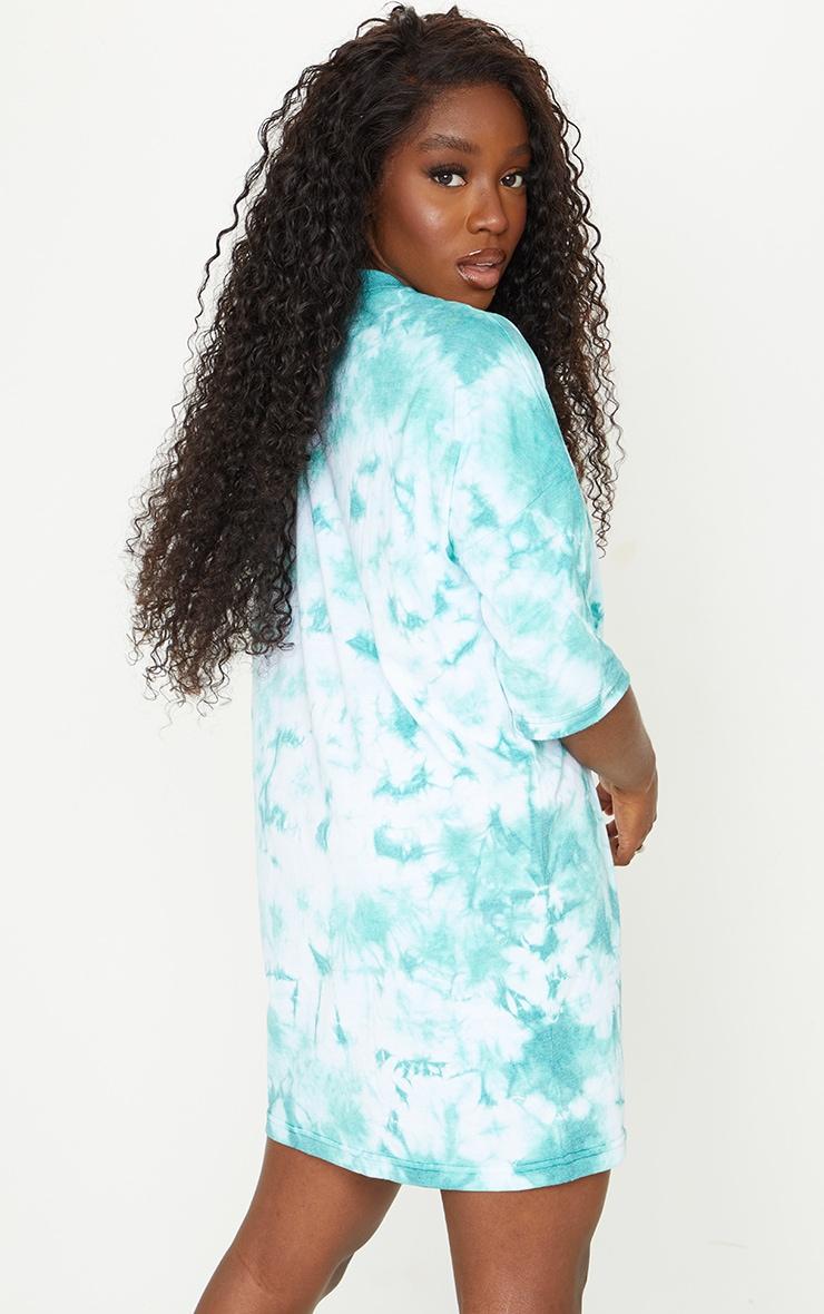 PRETTYLITTLETHING Teal Tie Dye Oversized T Shirt Dress 2
