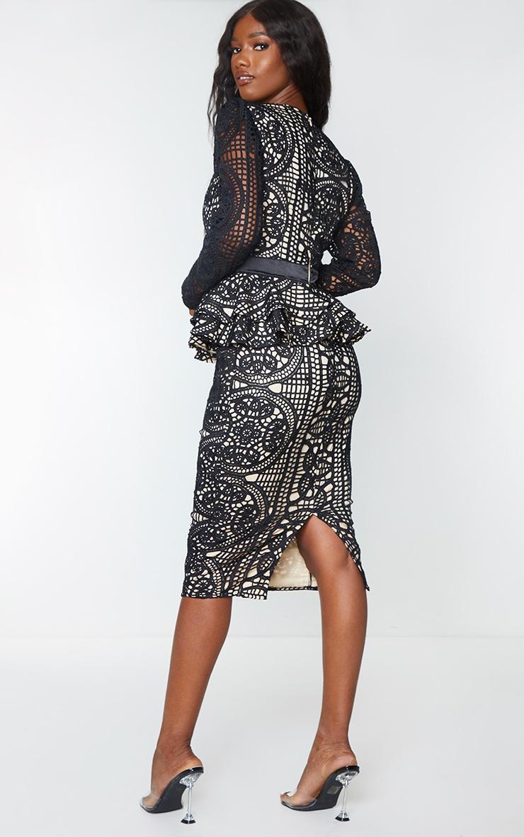 Black Lace Plunge Peplum Frill Midi Dress 2