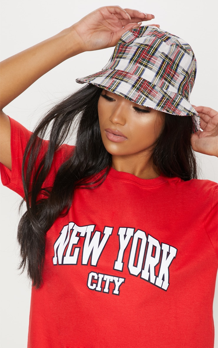 Red Check Bucket Hat