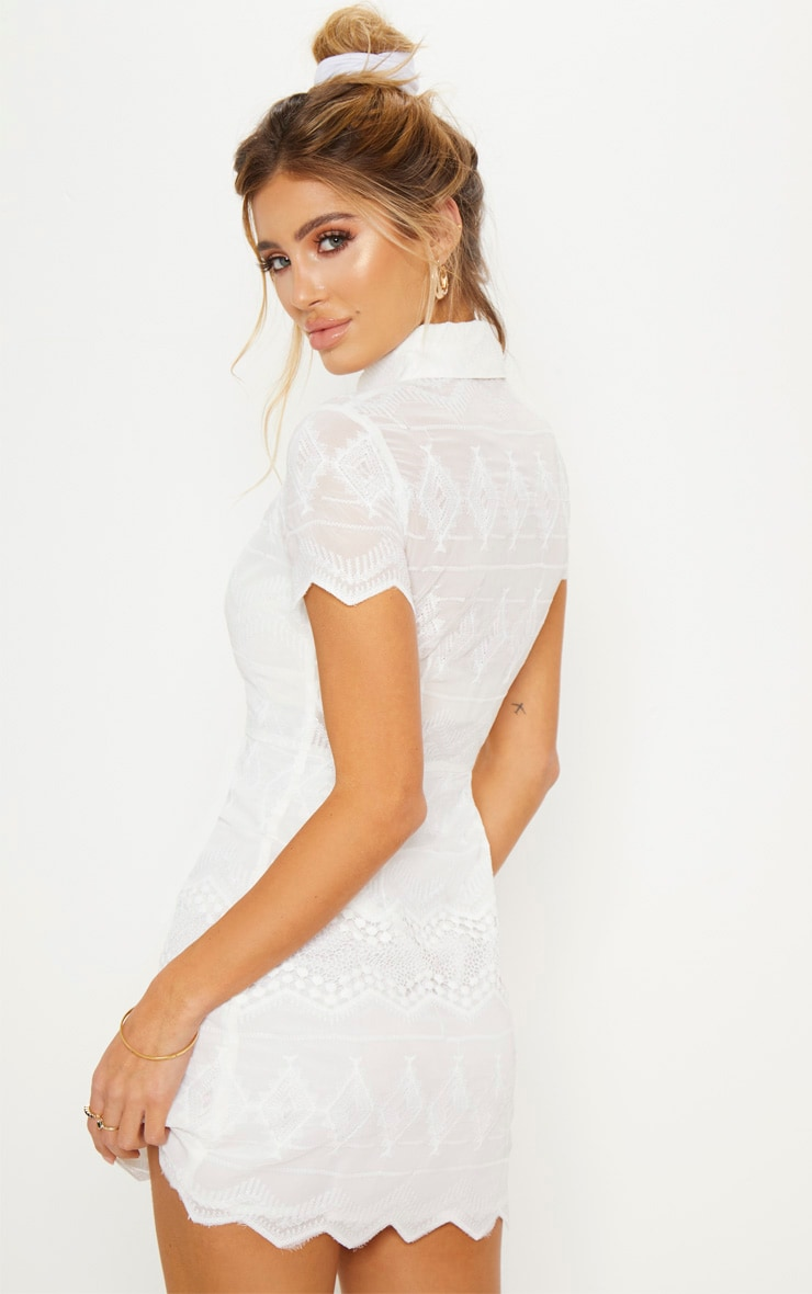 White Embroidered Lace Button Detail Shift Dress 3