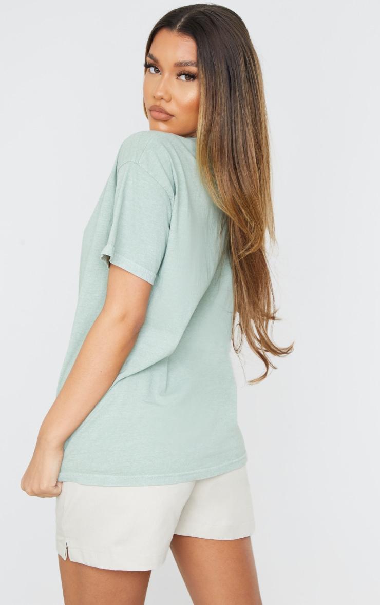 Sage Green The Leisure Club Printed T Shirt 2