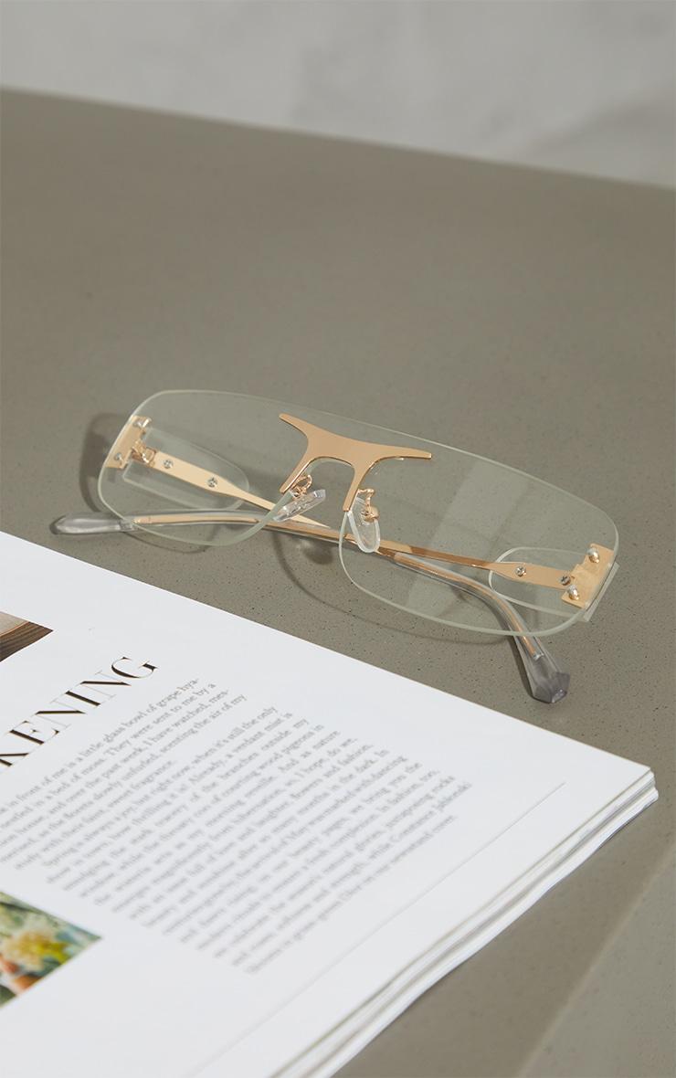 Clear Square Frame Gold Trim Sunglasses 2
